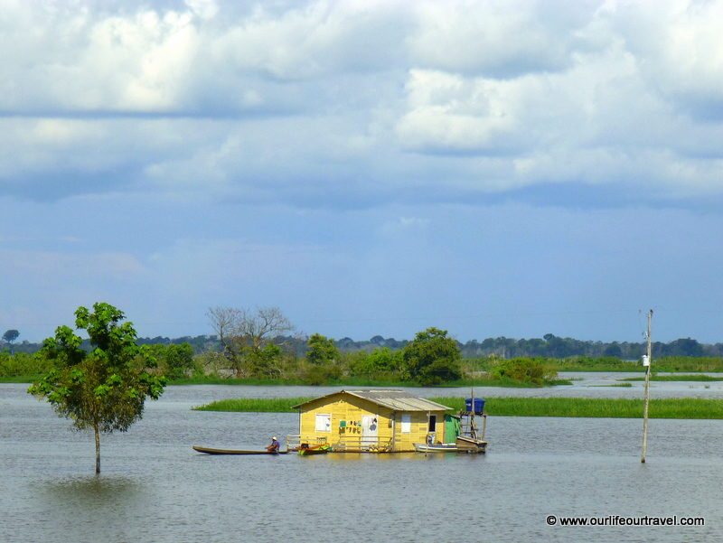 Flooded houses along the Amazon. Tabatinga - Manaus boat ride