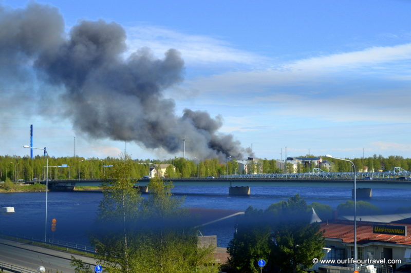 Flames across the river