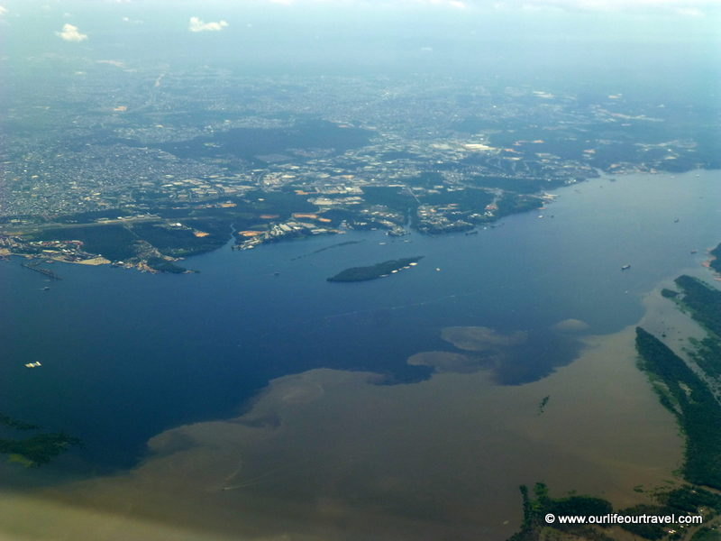 Meeting of Waters: Amazon and Rio Negro (Rio Solimões) near Manaus, Brazil
