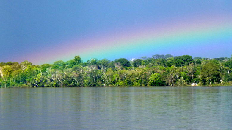 Rainbow over Amazon. Tabatinga - Manaus boat ride