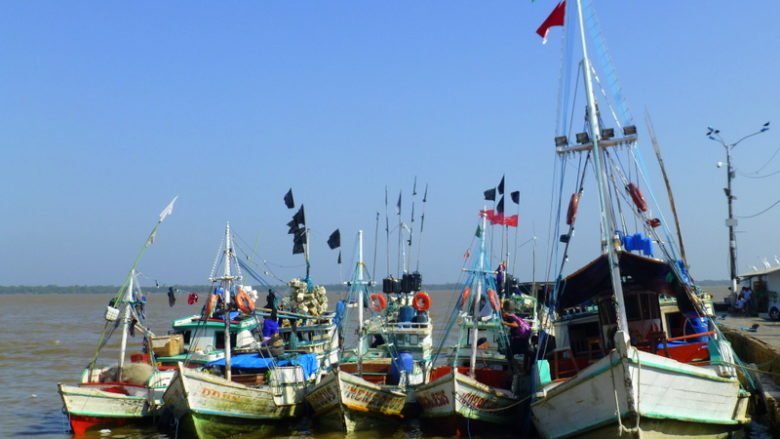 Colorful boats in Belém, Amazonia, Brazil