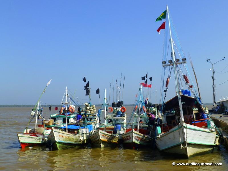 Colorful boats in Belém, Amazonia, Brazil
