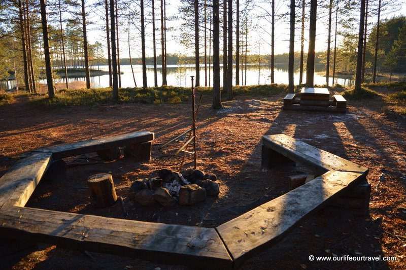 Fireplace outside of a cabin in Finland.