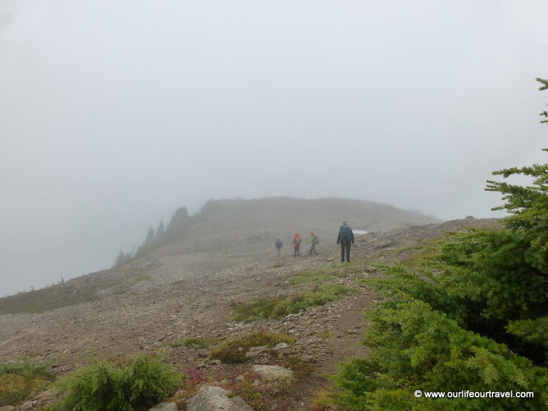 Foggy way to the peak of Hannegan, WA, USA