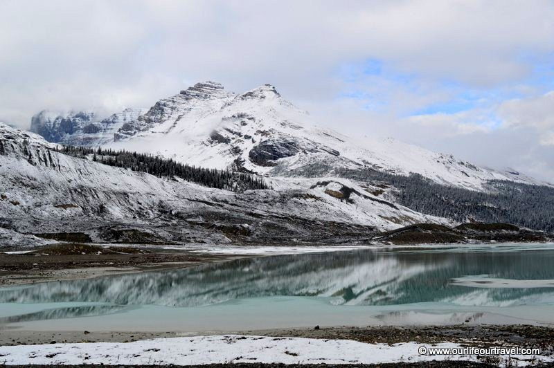 Canadian Rockies in autumn with snow