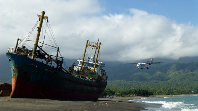 Abandoned ship and airport at Ende, East Nusa Tenggara, Flores