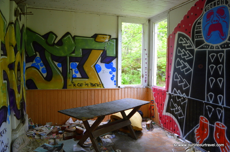 Inside with graffiti.