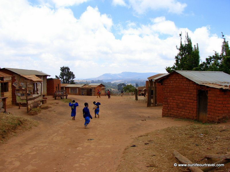 Children on their way from a countryside school
