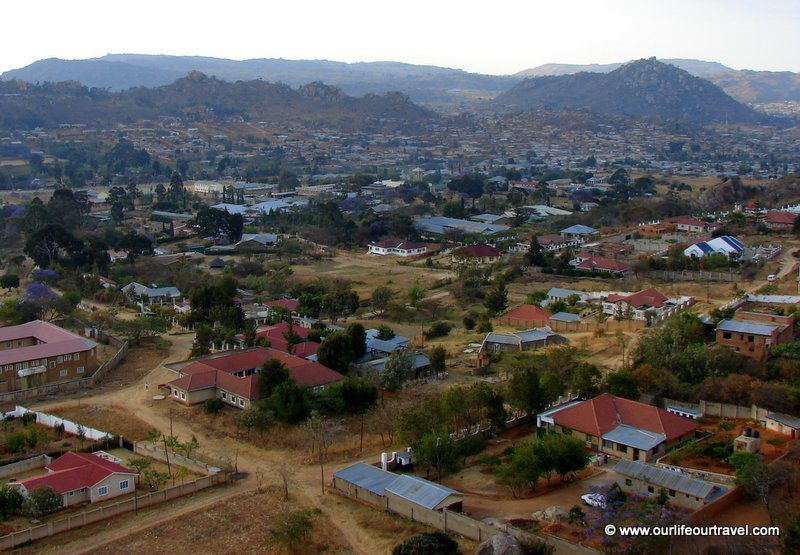 Panorama view of Iringa from the Gangilonga rock with the rich district at the foreground