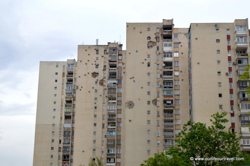 Sarajevo, Bosnia and Herzegovina. Bullet holes in the buildings. The remaining signs of the Yugoslavian war