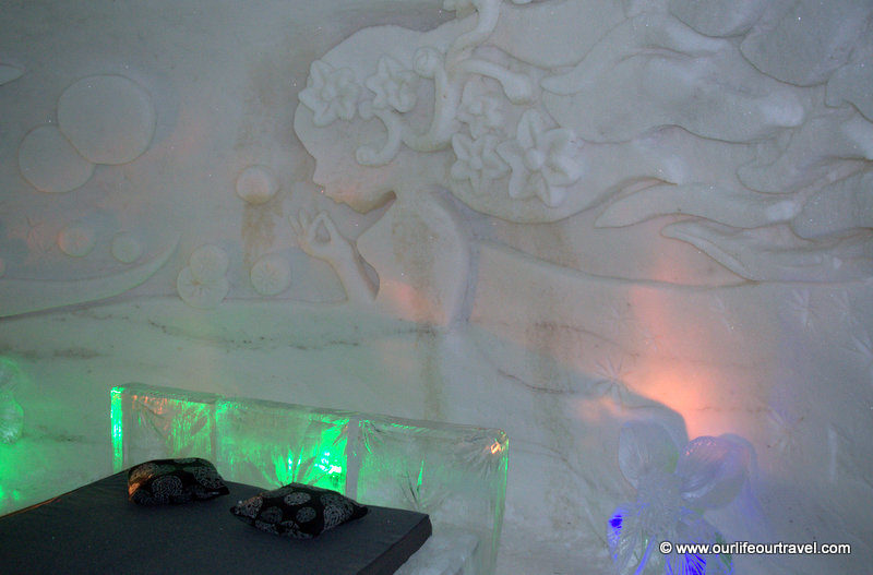 Ice hotel bed, Lapland, Finland