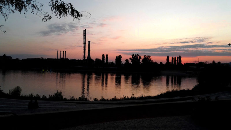 Sunset views to the bay and the industrial part from Kopaszi dam