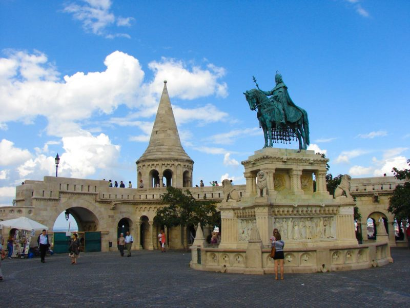 Trinity Square and Bela the third Statue in Budapest