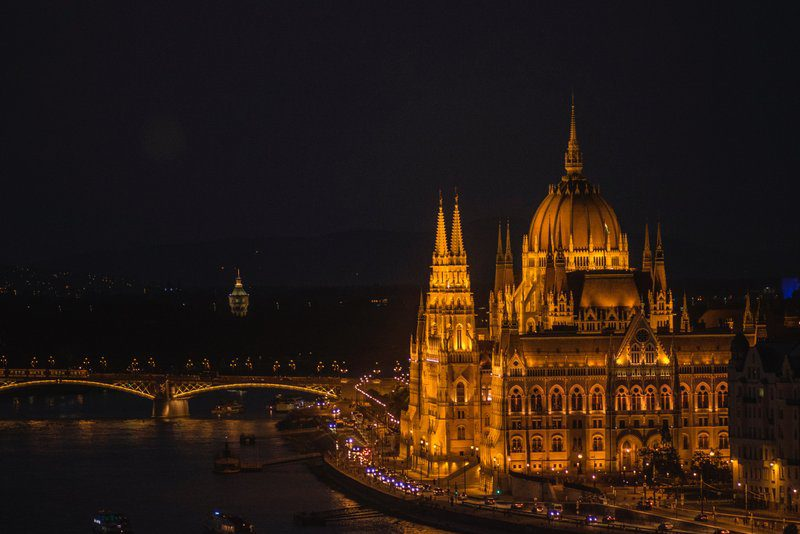 View to the Hungarian Parliament at night in Budapest