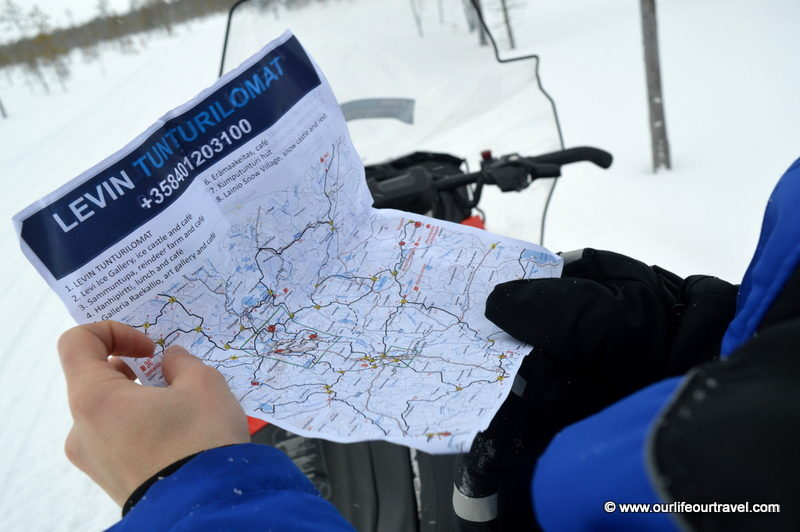Where are we? Driving a snowmobile in Lapland