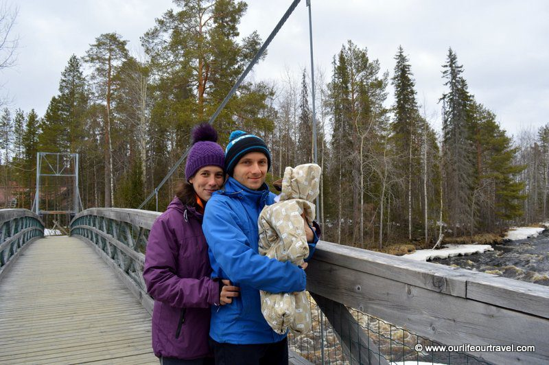 Walking with the baby near Rovaniemi, Lapland
