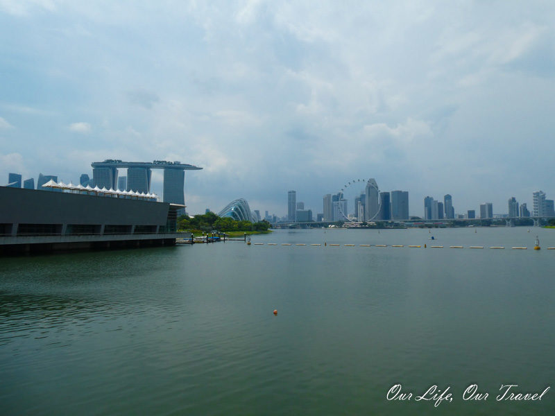 On the top of the Marina Barrage in Singapore.